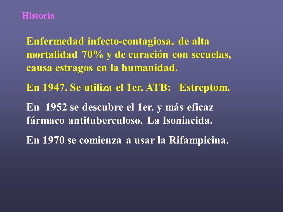 En 1947. Se utiliza el 1er. ATB: Estreptom.