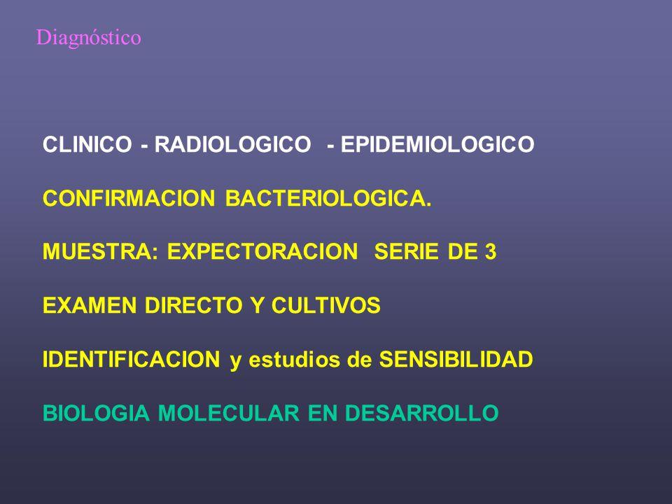 Diagnóstico CLINICO - RADIOLOGICO - EPIDEMIOLOGICO. CONFIRMACION BACTERIOLOGICA. MUESTRA: EXPECTORACION SERIE DE 3.