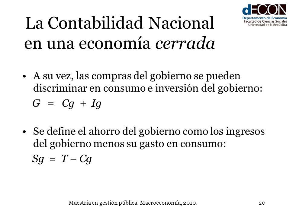 La Contabilidad Nacional en una economía cerrada