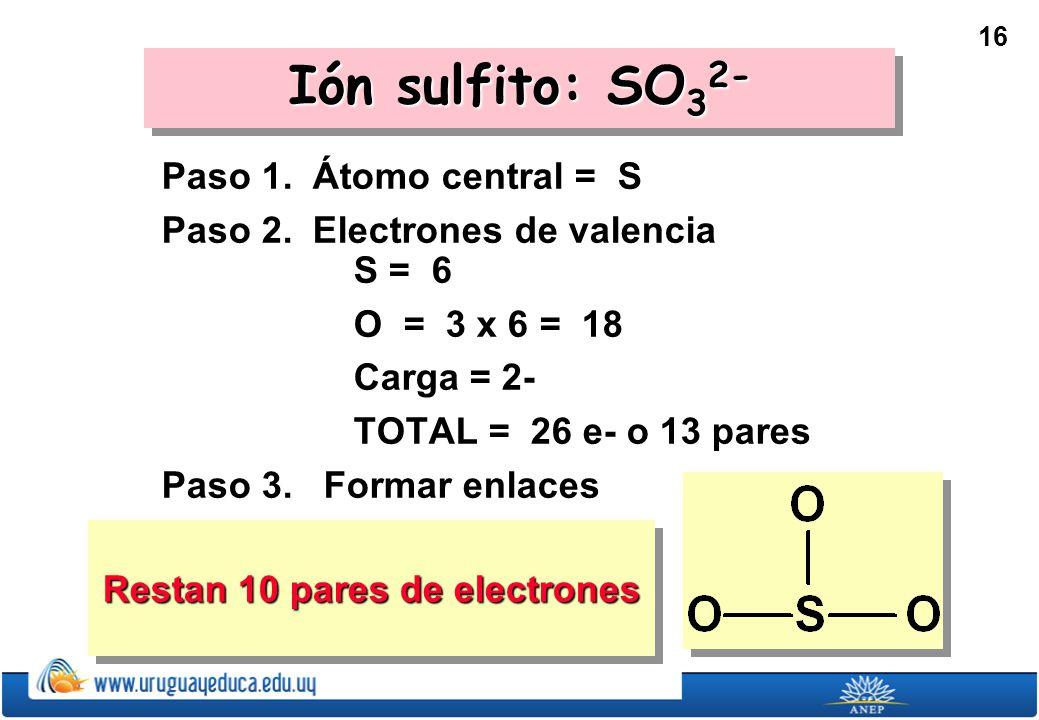 Restan 10 pares de electrones