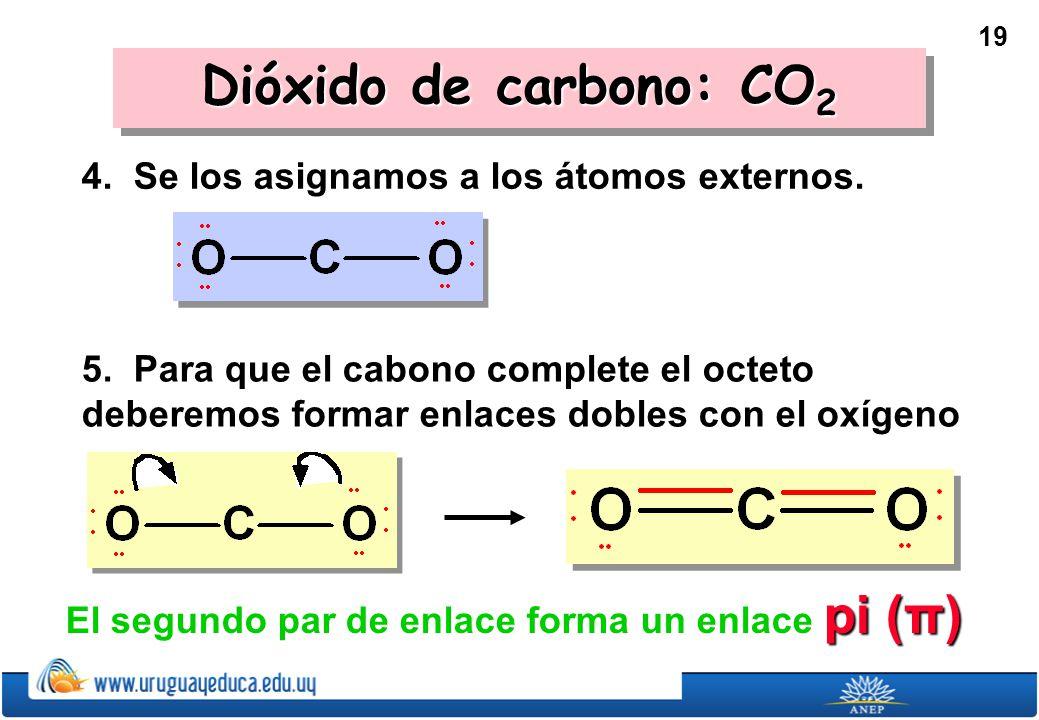 Dióxido de carbono: CO2 4. Se los asignamos a los átomos externos.