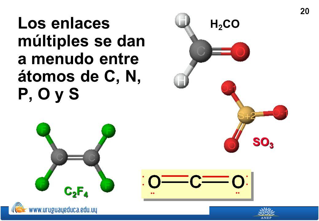 Los enlaces múltiples se dan a menudo entre átomos de C, N, P, O y S