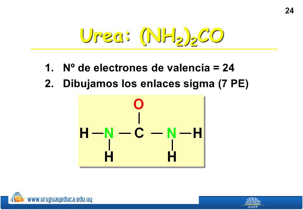 Urea: (NH2)2CO 1. Nº de electrones de valencia = 24
