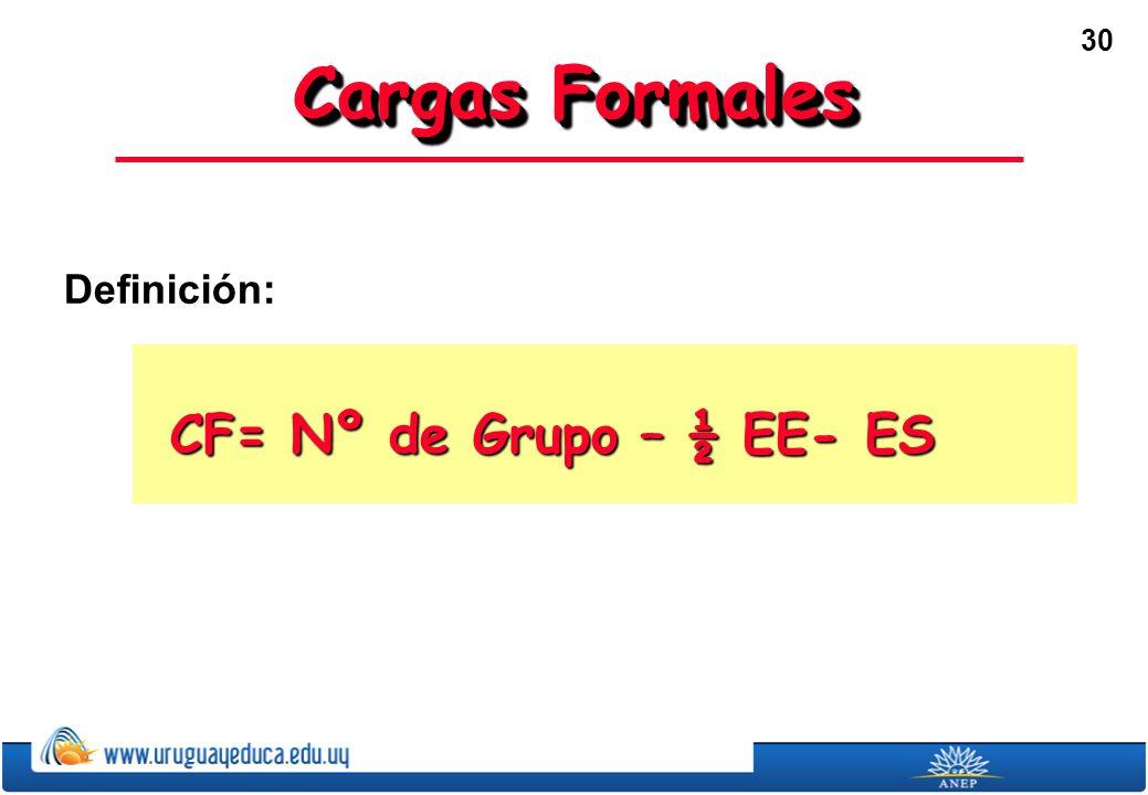 Cargas Formales Definición: CF= Nº de Grupo – ½ EE- ES