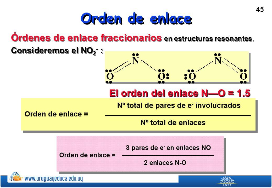 Orden de enlace Órdenes de enlace fraccionarios en estructuras resonantes.