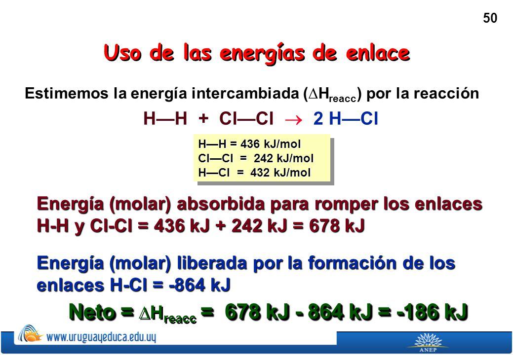Uso de las energías de enlace