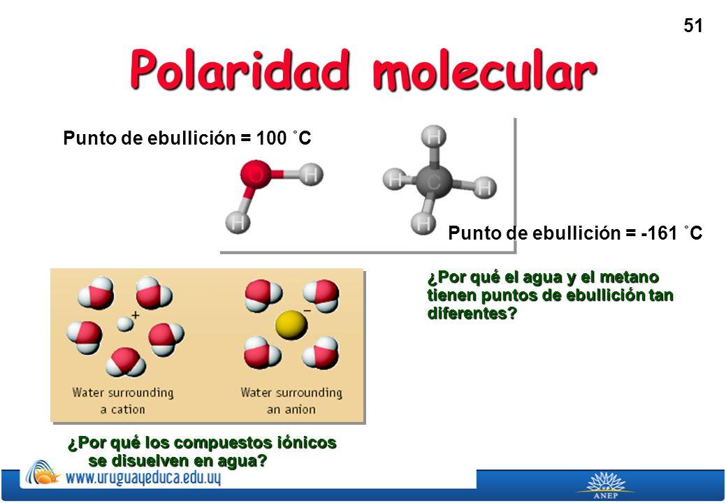 Polaridad molecular Punto de ebullición = 100 ˚C