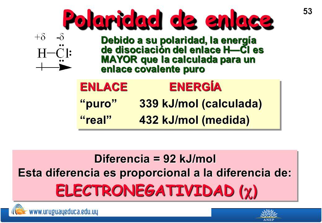 Polaridad de enlace ENLACE ENERGÍA puro 339 kJ/mol (calculada)