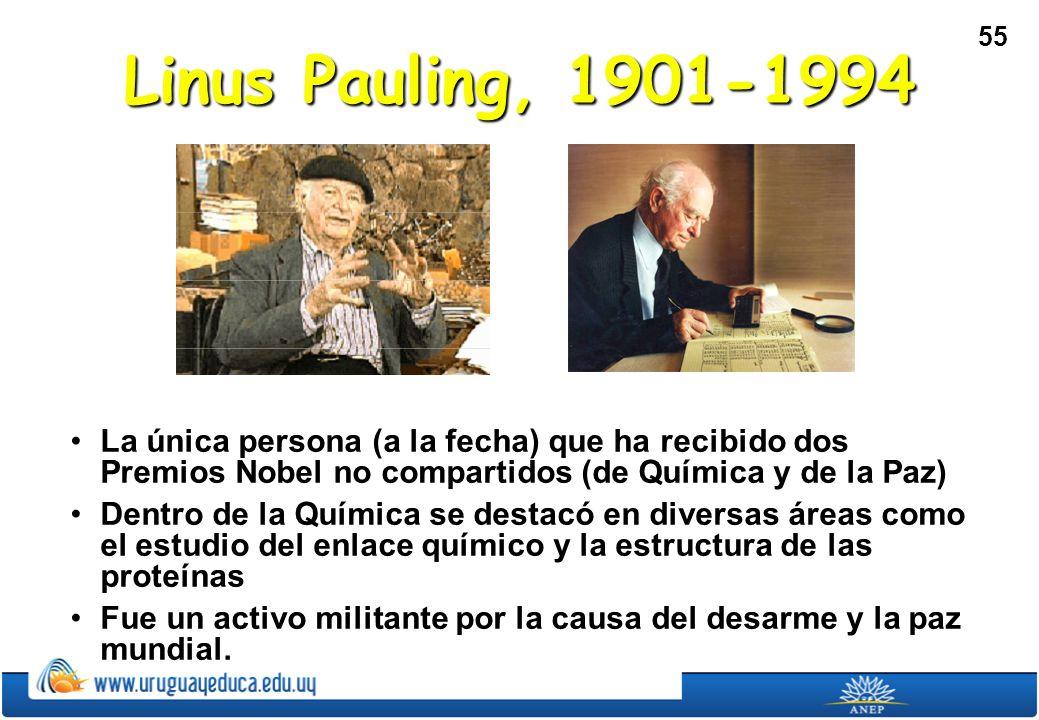 Linus Pauling, 1901-1994 La única persona (a la fecha) que ha recibido dos Premios Nobel no compartidos (de Química y de la Paz)