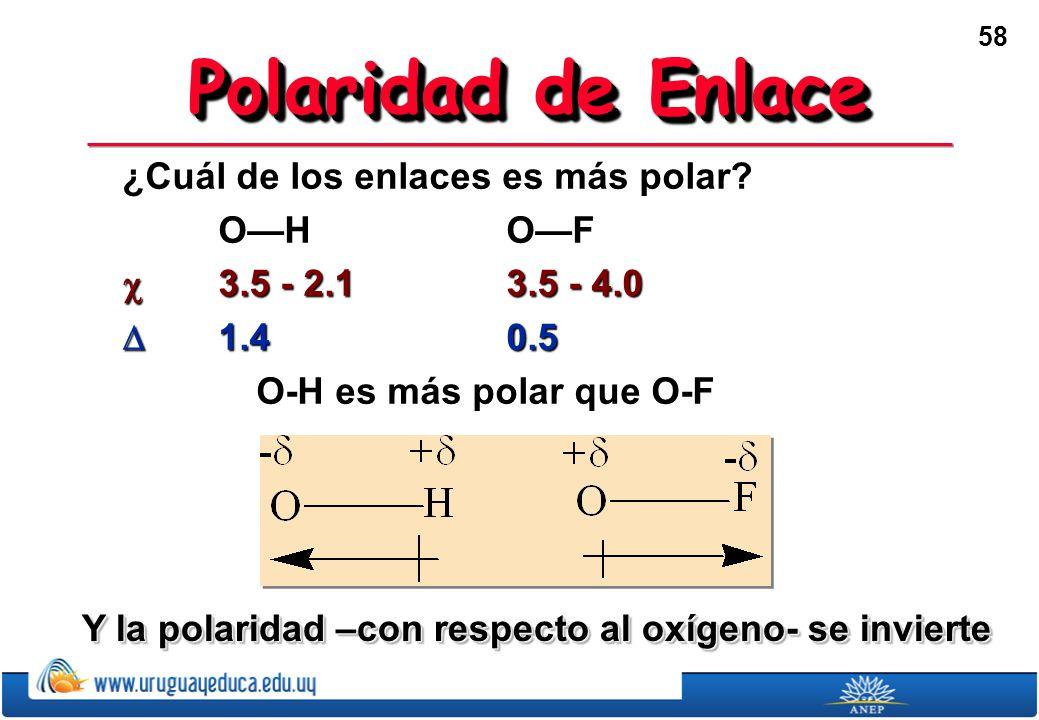 Polaridad de Enlace ¿Cuál de los enlaces es más polar O—H O—F