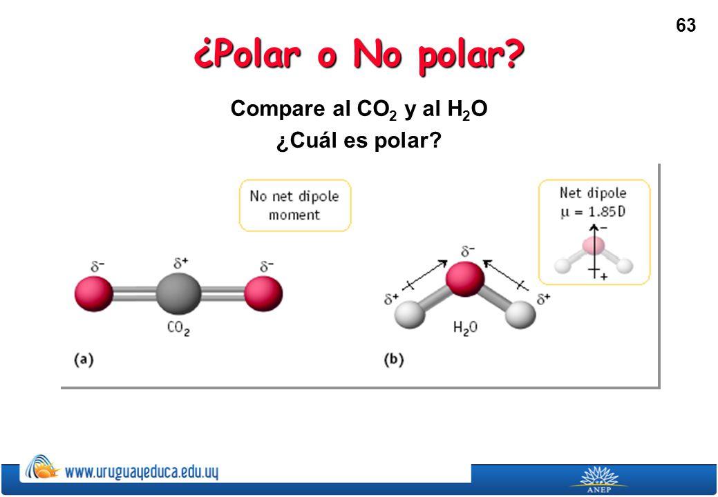 ¿Polar o No polar Compare al CO2 y al H2O ¿Cuál es polar
