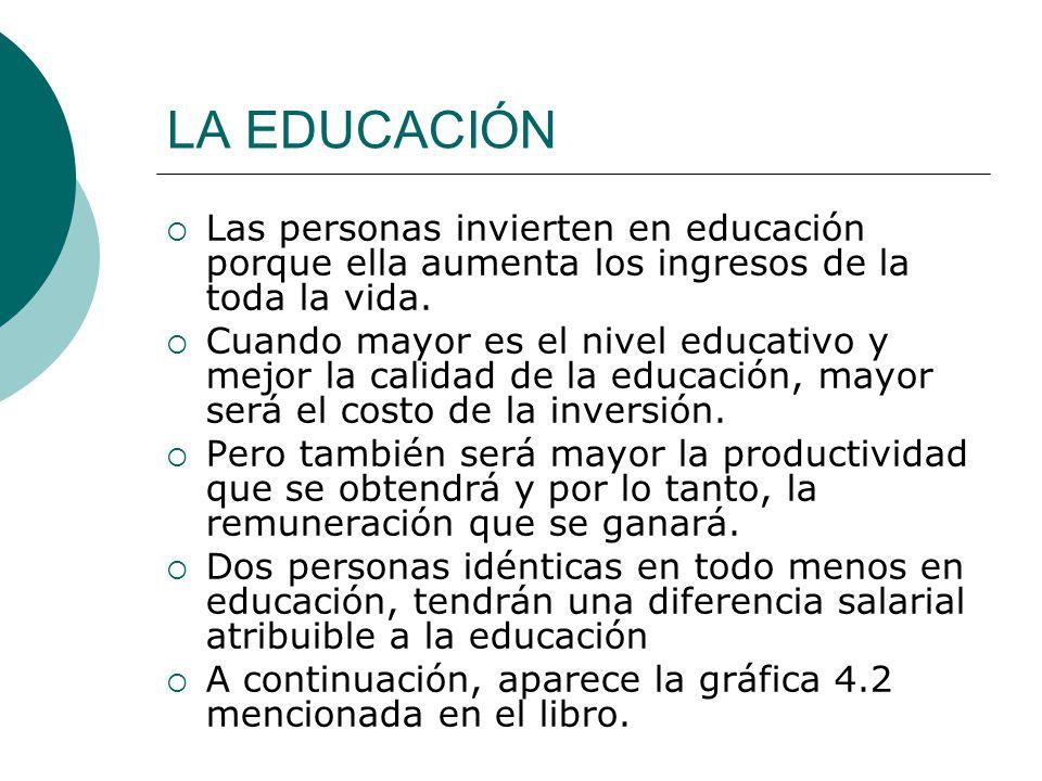LA EDUCACIÓN Las personas invierten en educación porque ella aumenta los ingresos de la toda la vida.