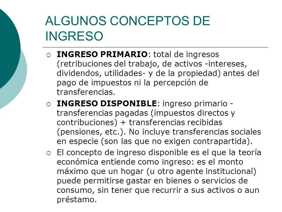 ALGUNOS CONCEPTOS DE INGRESO