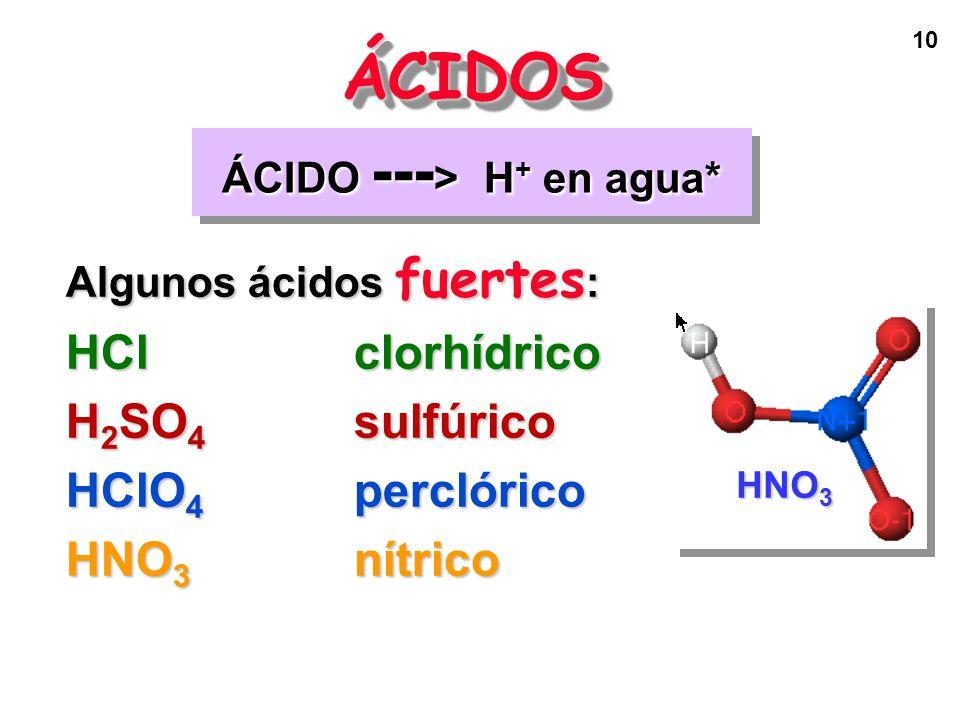 ÁCIDO ---> H+ en agua*