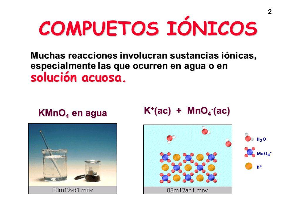 COMPUETOS IÓNICOS Muchas reacciones involucran sustancias iónicas, especialmente las que ocurren en agua o en solución acuosa.