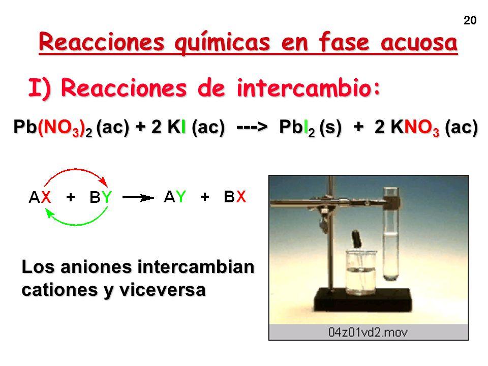 Reacciones químicas en fase acuosa