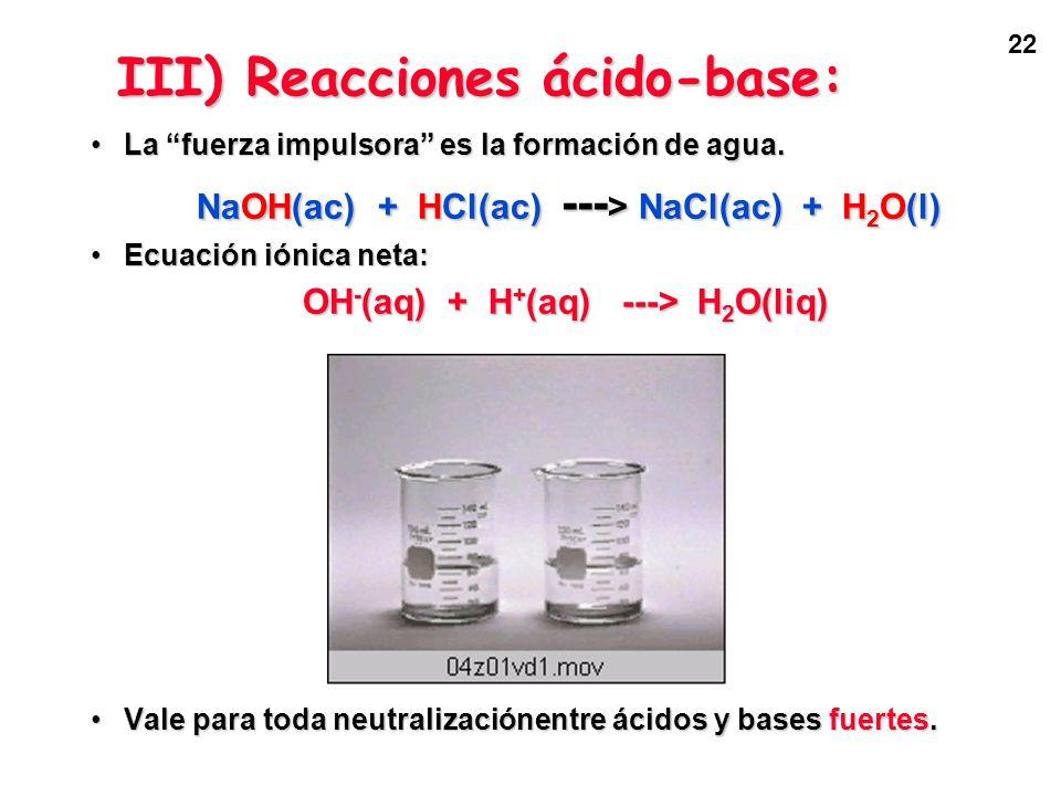 III) Reacciones ácido-base: