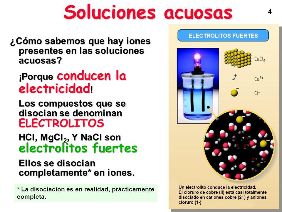 Soluciones acuosas ¿Cómo sabemos que hay iones presentes en las soluciones acuosas ¡Porque conducen la electricidad!