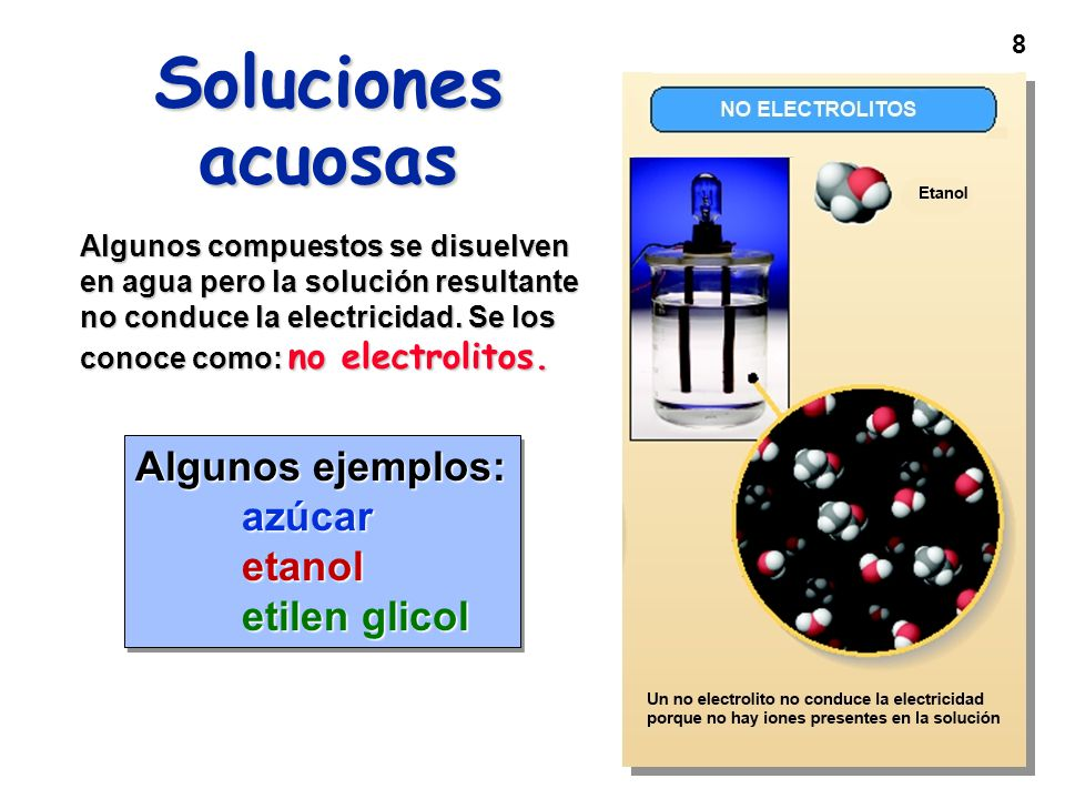 Soluciones acuosas Algunos ejemplos: azúcar etanol etilen glicol