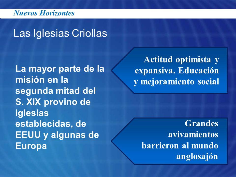 23/03/2017Nuevos Horizontes. Las Iglesias Criollas. Actitud optimista y expansiva. Educación y mejoramiento social.