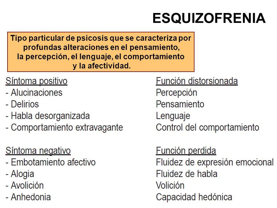 ESQUIZOFRENIA Tipo particular de psicosis que se caracteriza por