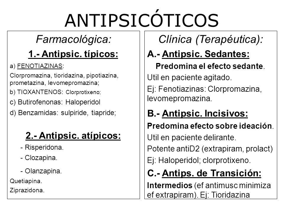 ANTIPSICÓTICOS Farmacológica: Clínica (Terapéutica):