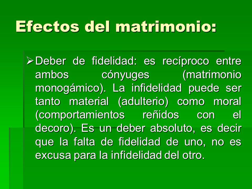 Efectos del matrimonio: