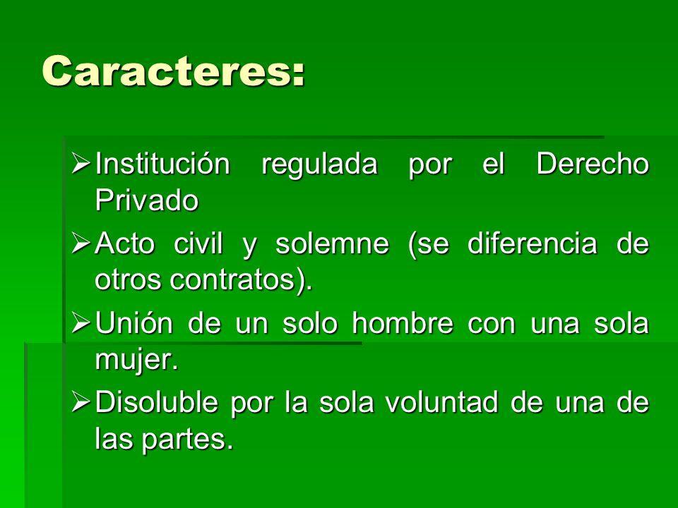 Caracteres: Institución regulada por el Derecho Privado