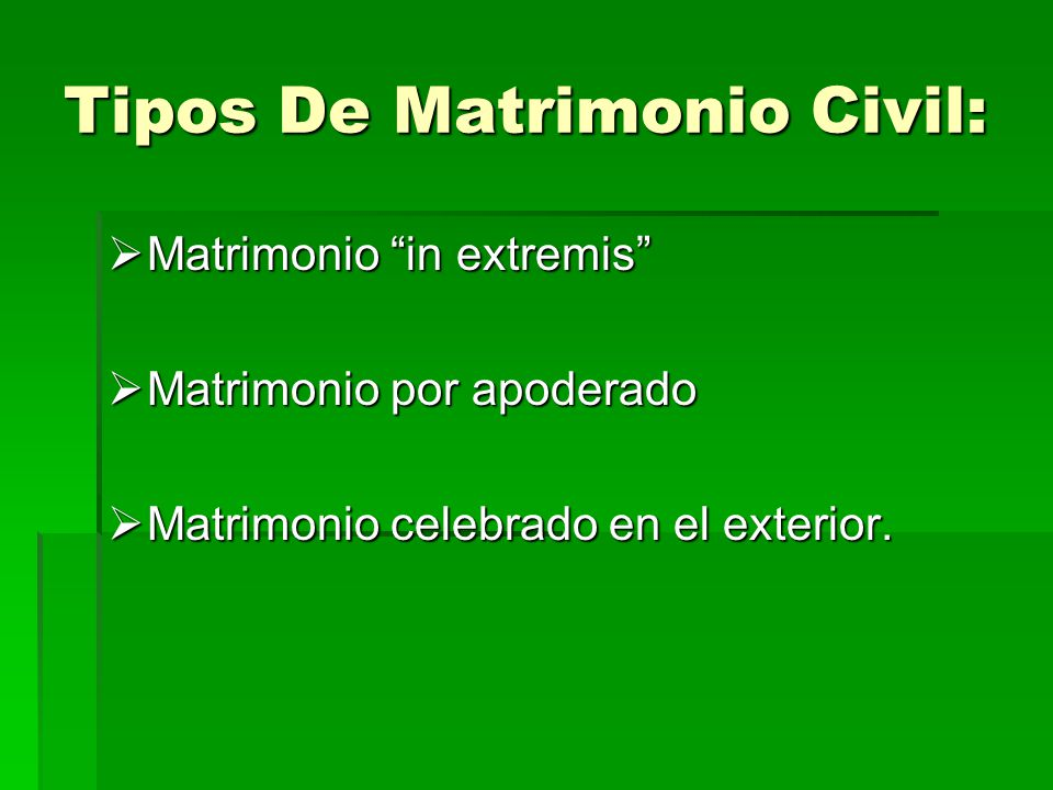 Tipos De Matrimonio Civil: