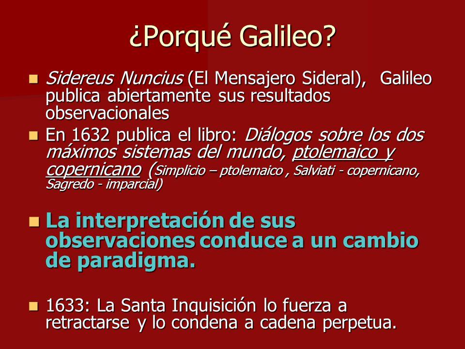 ¿Porqué Galileo Sidereus Nuncius (El Mensajero Sideral), Galileo publica abiertamente sus resultados observacionales.