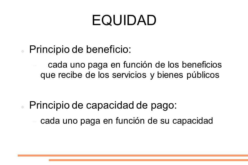 EQUIDAD Principio de beneficio: Principio de capacidad de pago: