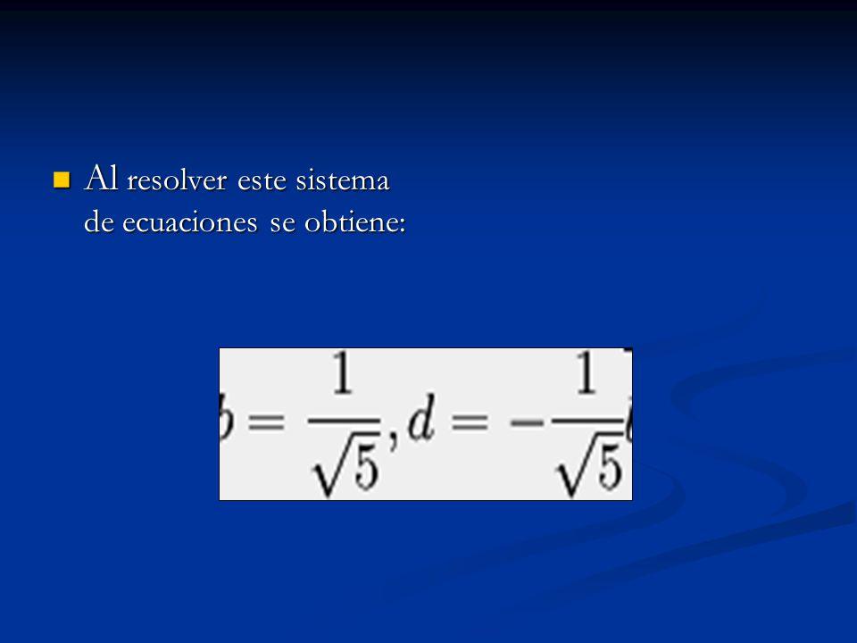 Al resolver este sistema de ecuaciones se obtiene: