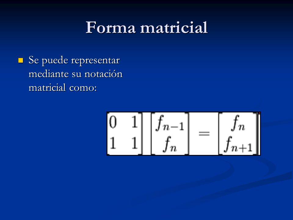 Forma matricial Se puede representar mediante su notación matricial como: