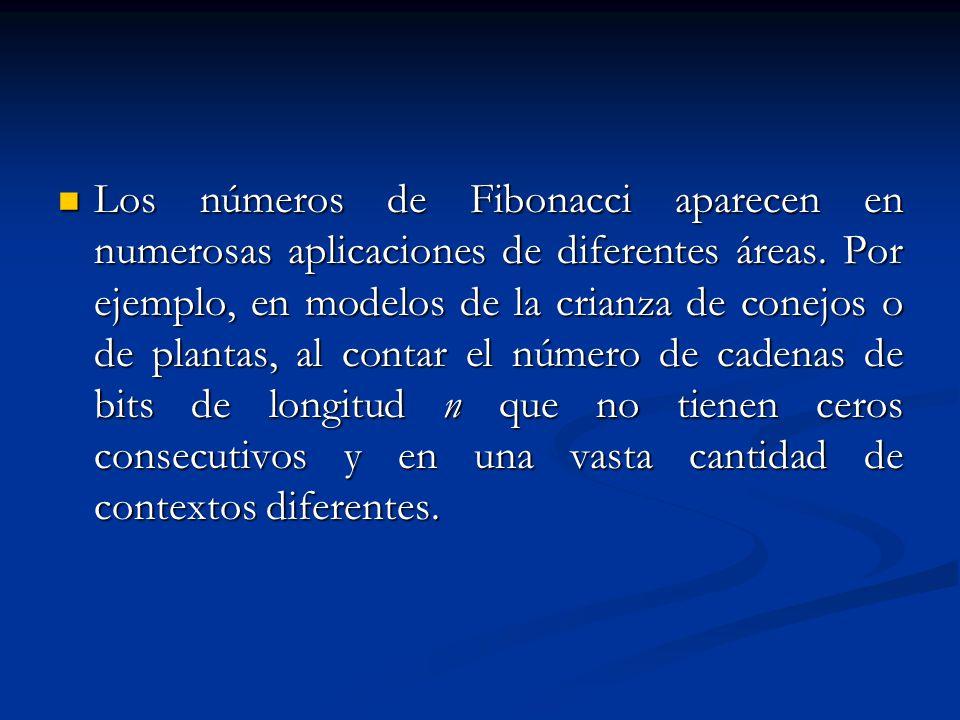 Los números de Fibonacci aparecen en numerosas aplicaciones de diferentes áreas.