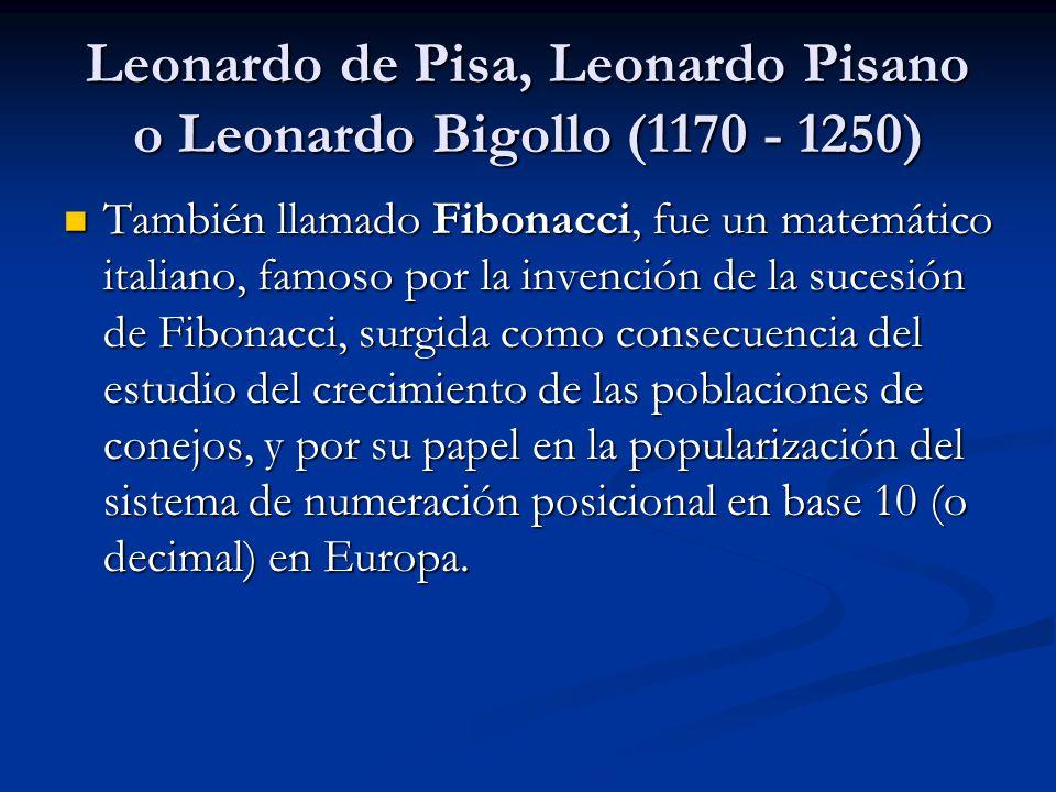 Leonardo de Pisa, Leonardo Pisano o Leonardo Bigollo (1170 - 1250)