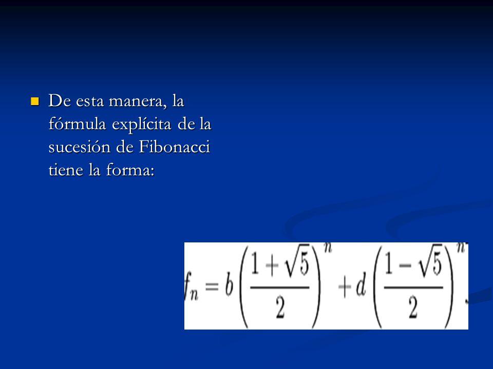De esta manera, la fórmula explícita de la sucesión de Fibonacci tiene la forma: