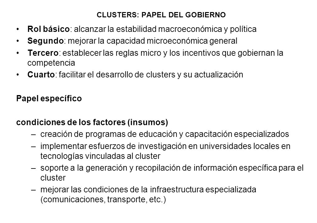 CLUSTERS: PAPEL DEL GOBIERNO