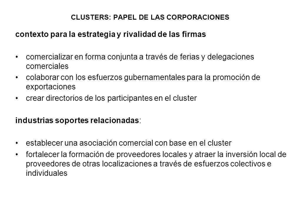 CLUSTERS: PAPEL DE LAS CORPORACIONES