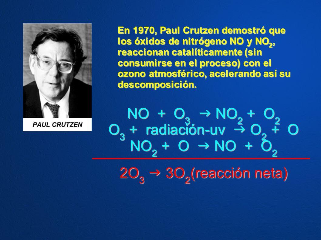 NO + O3  NO2 + O2 O3 + radiación-uv  O2 + O NO2 + O  NO + O2