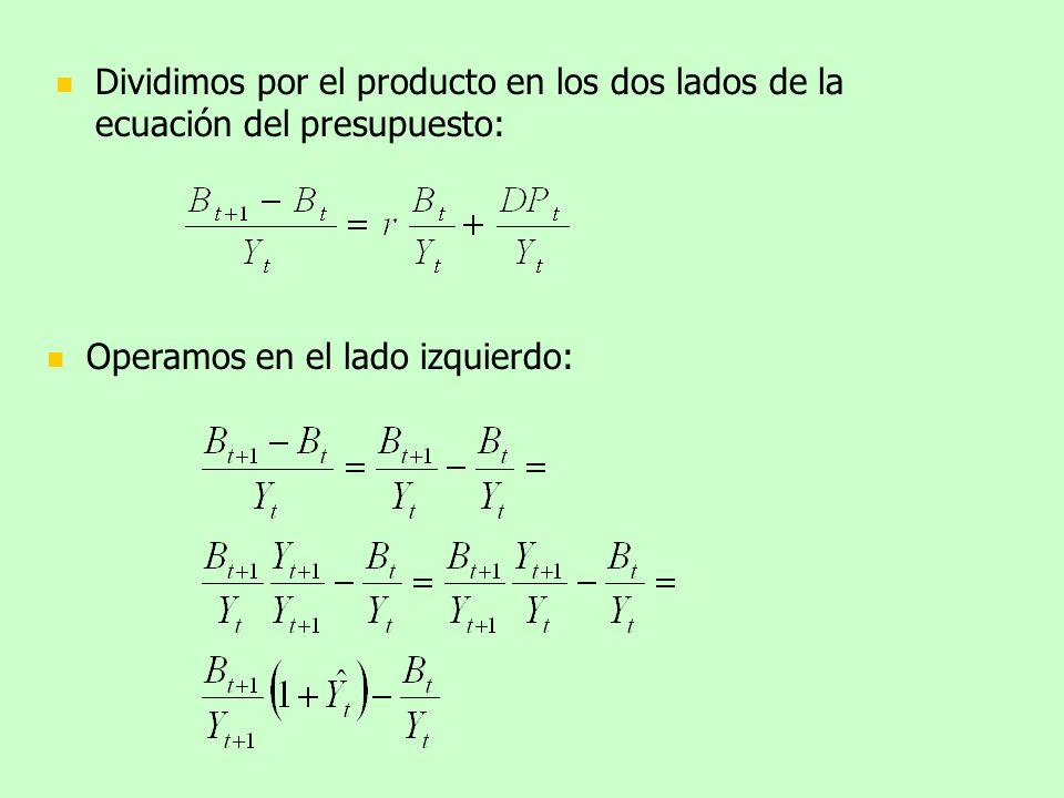 Dividimos por el producto en los dos lados de la ecuación del presupuesto: