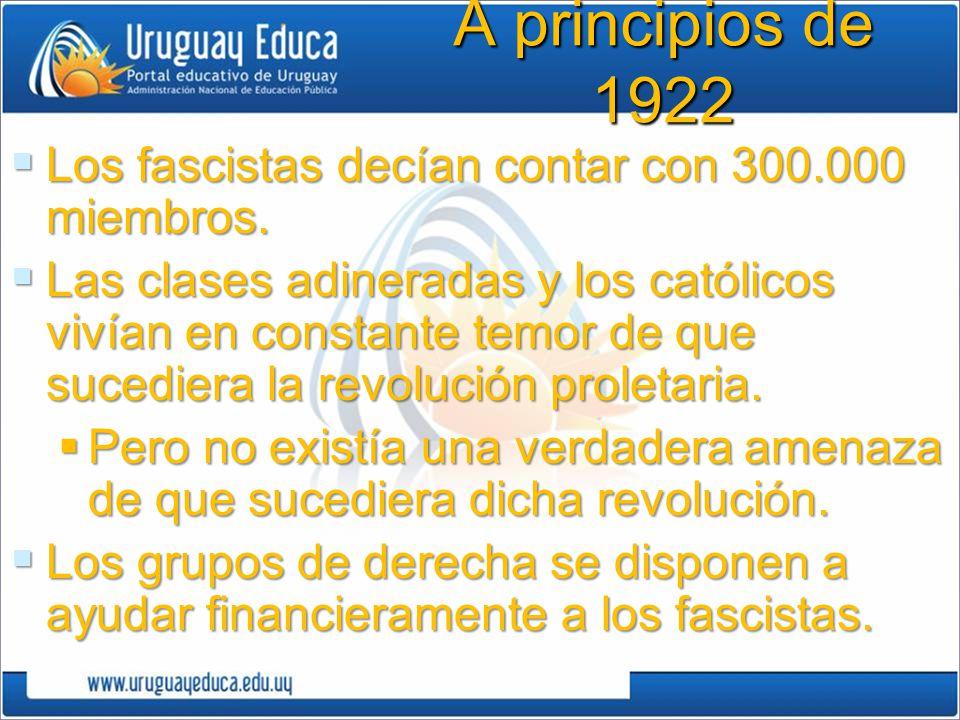 A principios de 1922 Los fascistas decían contar con 300.000 miembros.