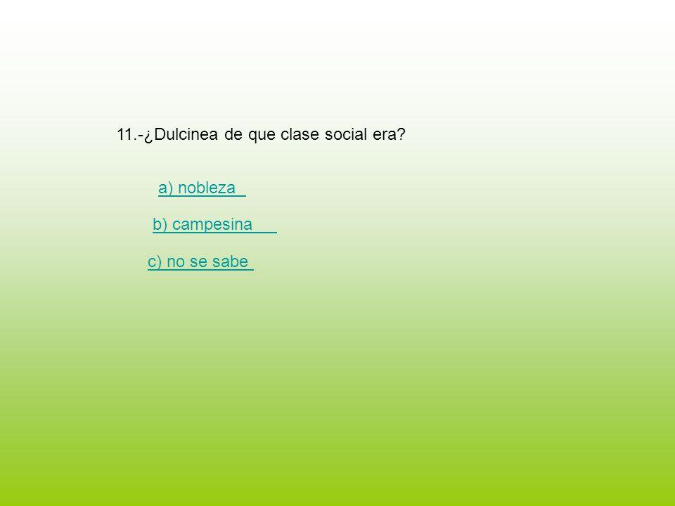 11.-¿Dulcinea de que clase social era