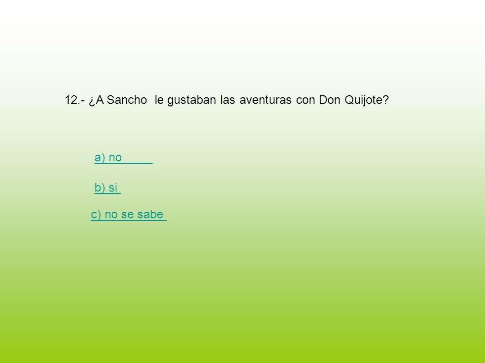 12.- ¿A Sancho le gustaban las aventuras con Don Quijote