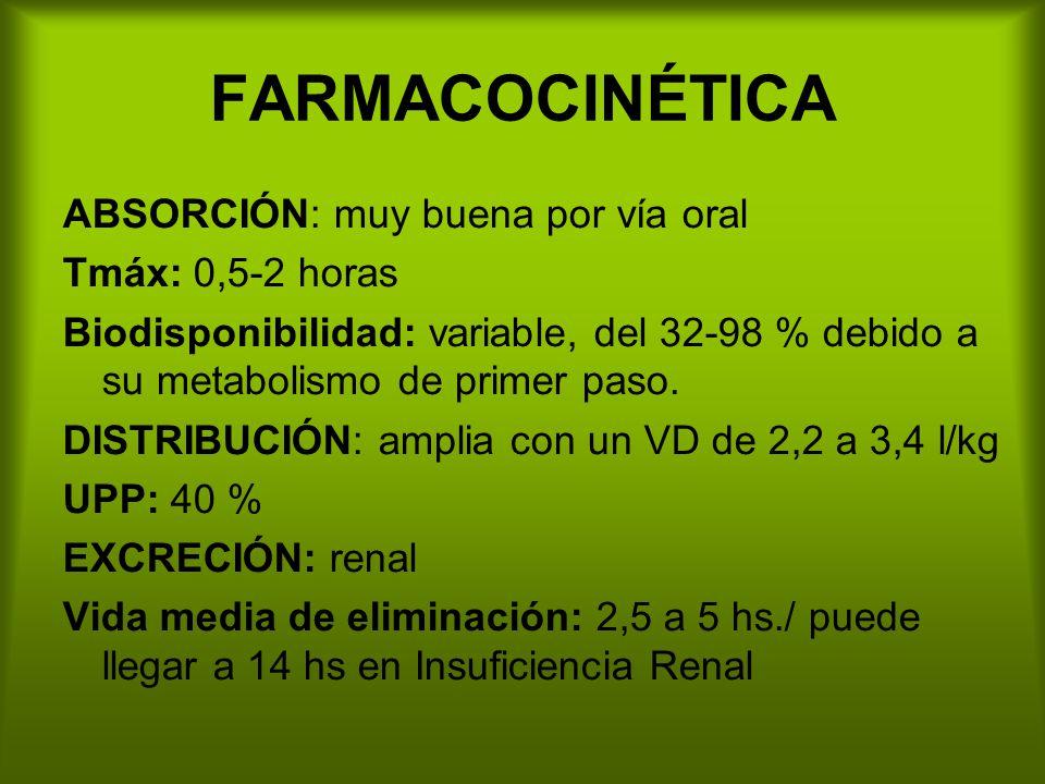 FARMACOCINÉTICA ABSORCIÓN: muy buena por vía oral Tmáx: 0,5-2 horas