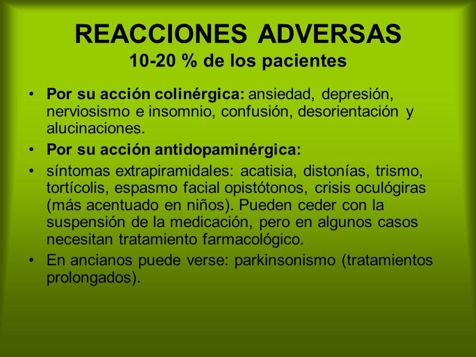 REACCIONES ADVERSAS 10-20 % de los pacientes