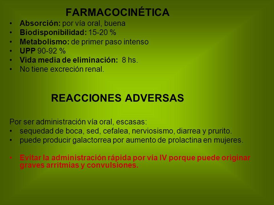 FARMACOCINÉTICA REACCIONES ADVERSAS Absorción: por vía oral, buena