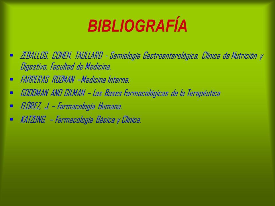 BIBLIOGRAFÍA ZEBALLOS, COHEN, TAULLARD - Semiología Gastroenterológica. Clínica de Nutrición y Digestivo. Facultad de Medicina.