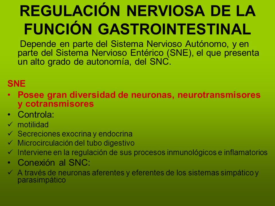 REGULACIÓN NERVIOSA DE LA FUNCIÓN GASTROINTESTINAL