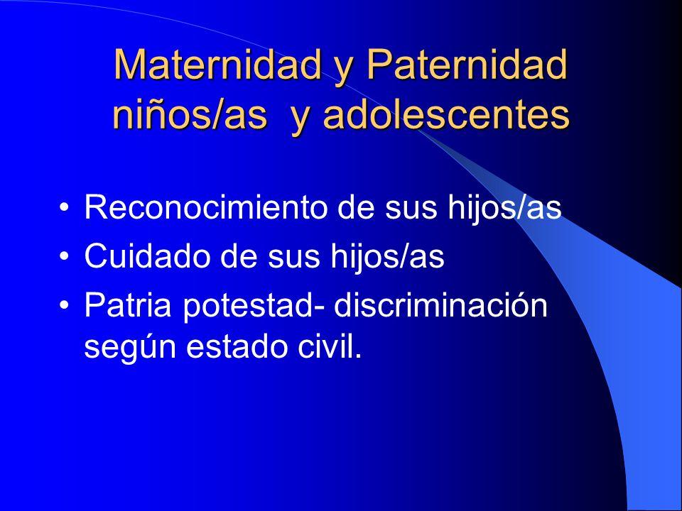 Maternidad y Paternidad niños/as y adolescentes