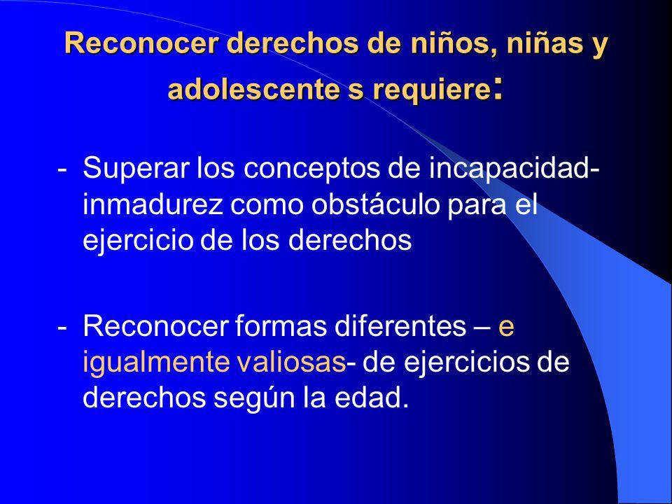 Reconocer derechos de niños, niñas y adolescente s requiere: